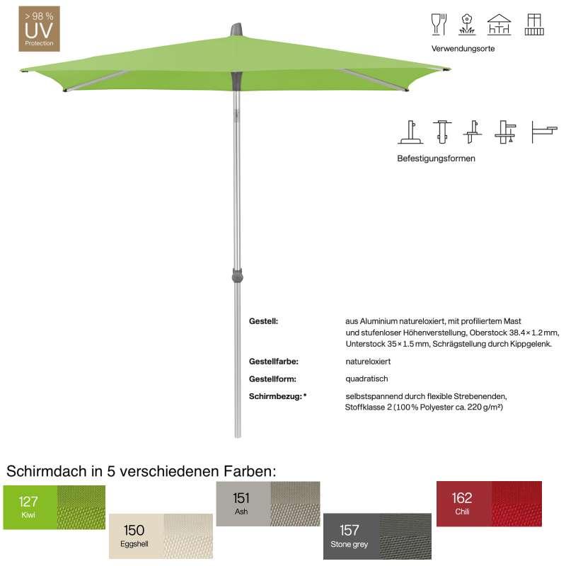 GLATZ Sonnenschirm ALU-SMART easy quadratisch 200 x 200 cm in 5 Farben Stoffklasse 2