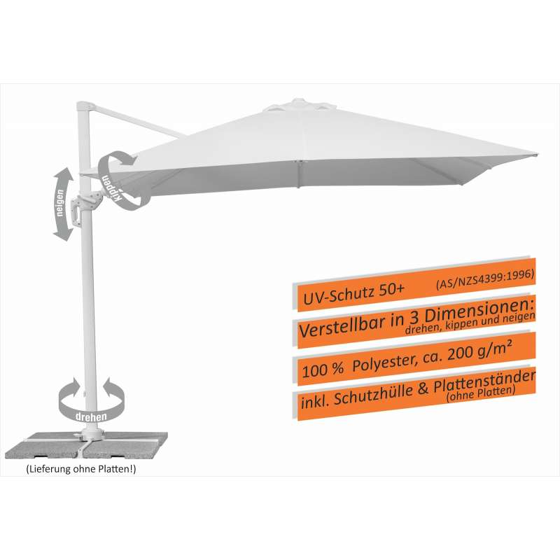 Schneider Schirme Rhodos Twist Bianco Sonnenschirm 300 x 300 cm weiß Ampelschirm