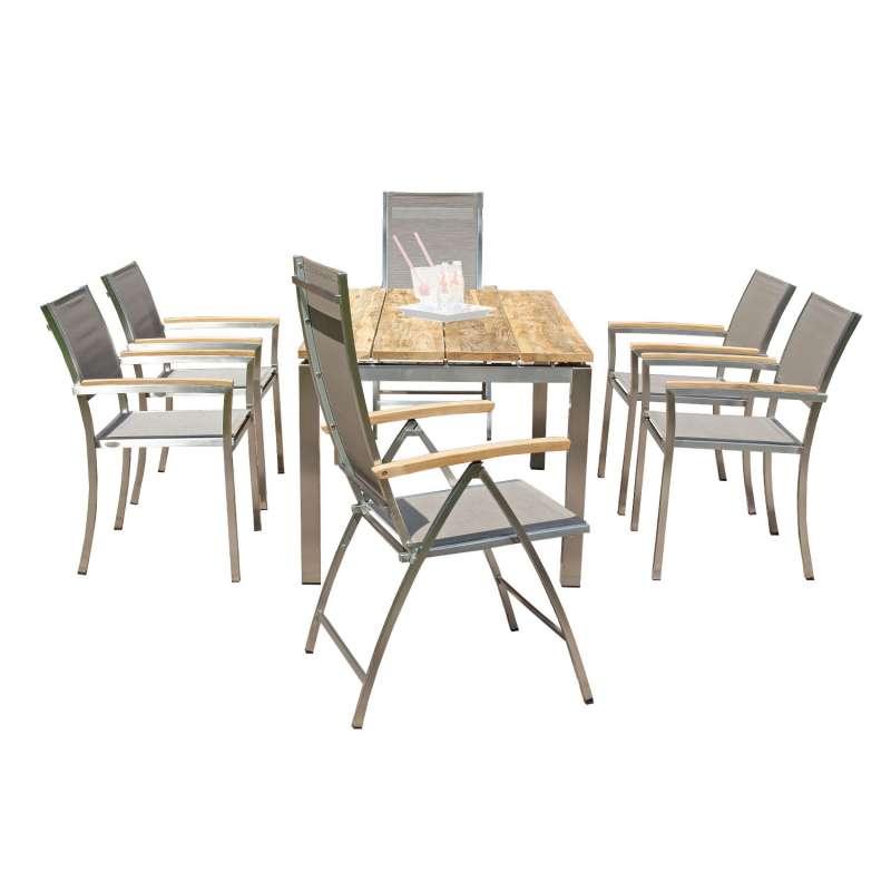 Sonnenpartner 7-teilige Sitzgruppe Paragon & Galaxy & Base 160x90 cm Edelstahl mit Textilen taupe Te