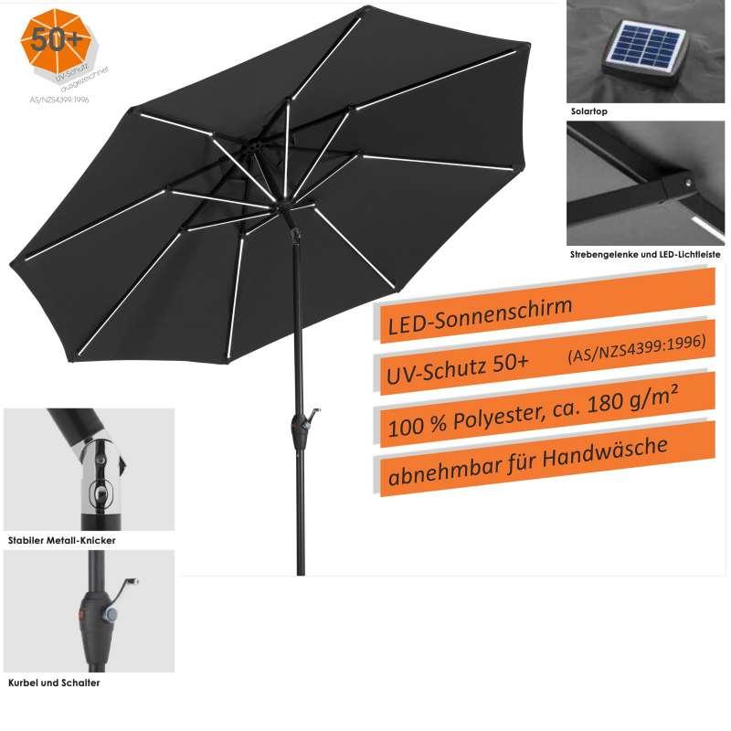 Schneider Schirme Blacklight Sonnenschirm rund ø 270 cm anthrazit LED Mittelmastschirm