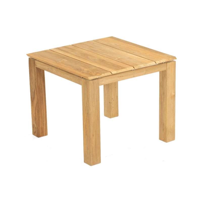 Sonnenpartner Gartentisch Base 90x90 cm Teakholz natur Tischsystem mit wählbarer Tischplatte HPL Tea