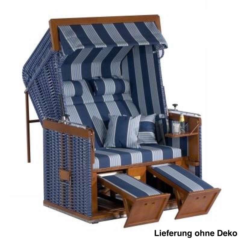 Sonnenpartner Strandkorb Präsident 2-Sitzer Liegemodell blau/hellblau mit extra Kissen