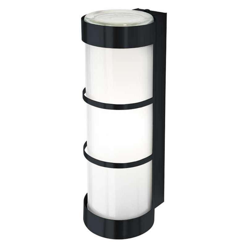 Heibi Wandleuchte Zierleisten Zylinderform Stahl grau/Opalglas 10x12,5x31,5 cm Außenleuchte