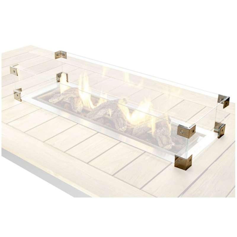 Happy Cocooning Glasschirm für Einbau-Feuertische rechteckig large 100x33x17 cm Glasumrandung