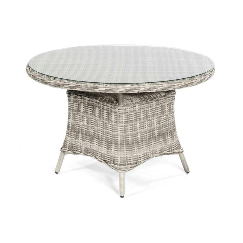 SunnySmart Gartentisch Midland rund Ø120 cm Aluminium mit Kunststoffgeflecht vintage-taupe Tisch