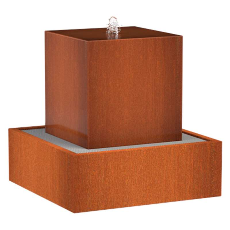 Adezz Wasserblock Corten-Stahl 70x70x70 cm Rost braun/orange Wasserspiel mit Pumpe und LED