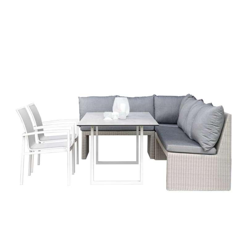 Stern 6-teilige Dining-Sitzgruppe Noel & Skelby Geflecht Vintage weiß/seidengrau mit Kufentisch 160x
