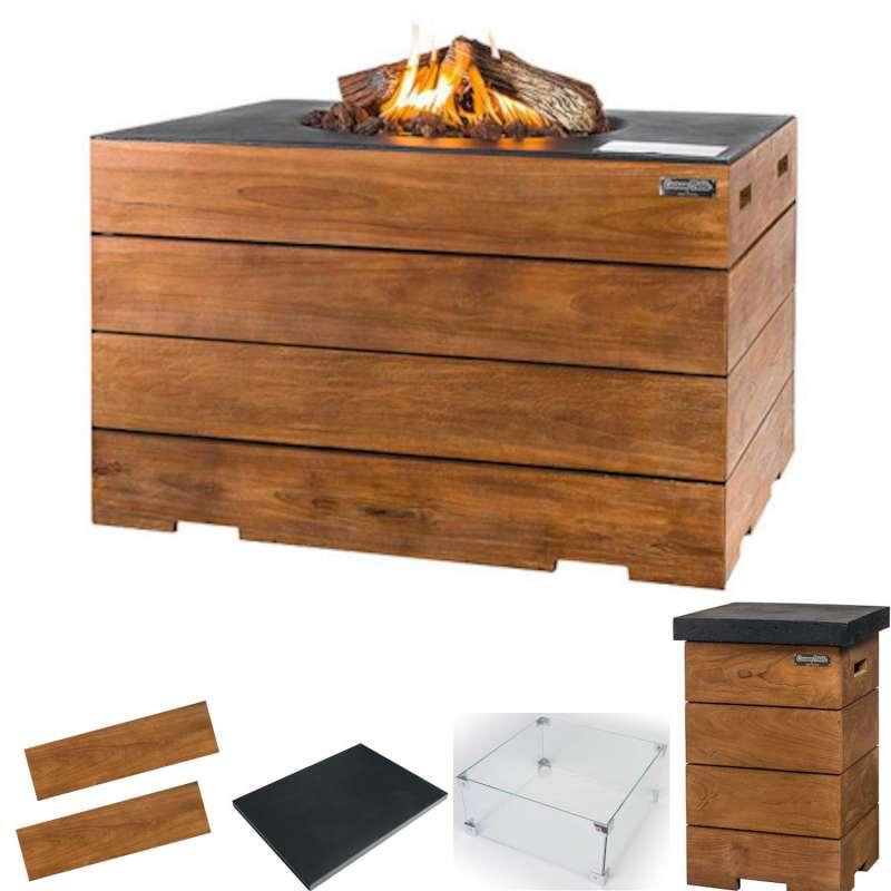 Happy Cocooning Mania Feuertisch Komplettset Lounge&Dining 19,5 kW rechteckig 107x80x67,5 cm Teakhol