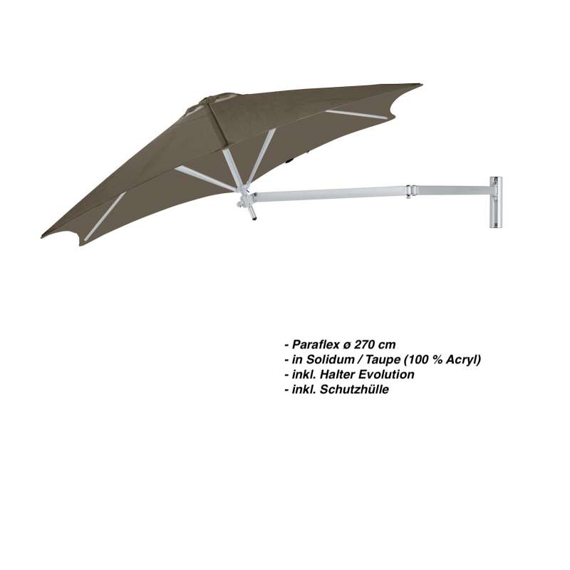 Umbrosa Paraflex ø 270 cm Sonnenschirm Wandschirm SET Solidum Taupe inkl. Halterung