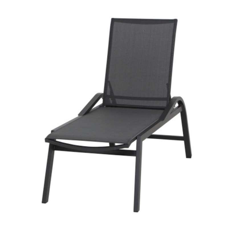 Siena Garden Milos Rollliege Aluminium anthrazit mit Textilbezug schwarz-grau H16694 Sonnenliege