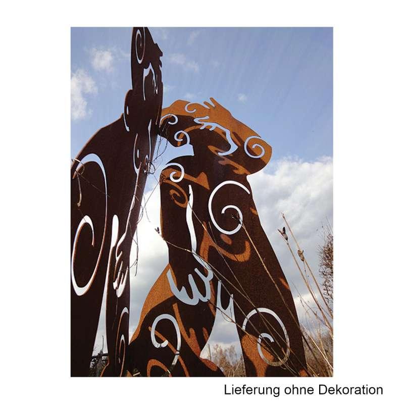 Mecondo MIRAS L Skulptur Figuren im 90°-Winkel Cortenstahl 200 cm Gartendekoration