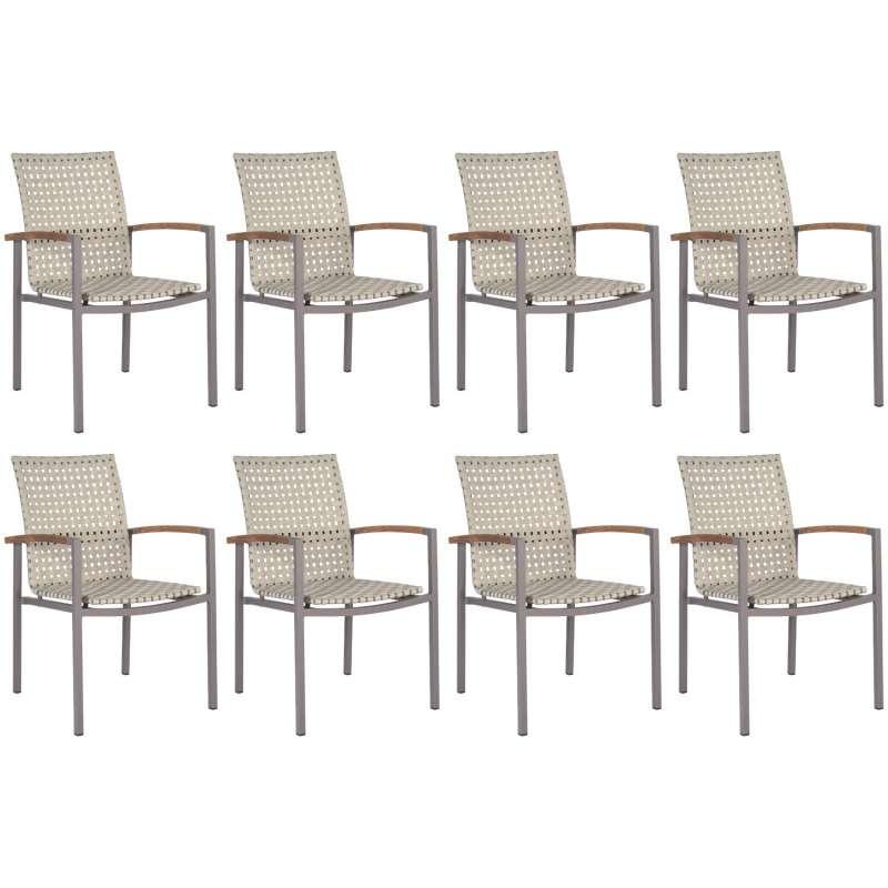 Stern 8er-Set Stapelsessel Lucy Aluminium taupe/natur/Teakholz Gartenstuhl Stapelstuhl