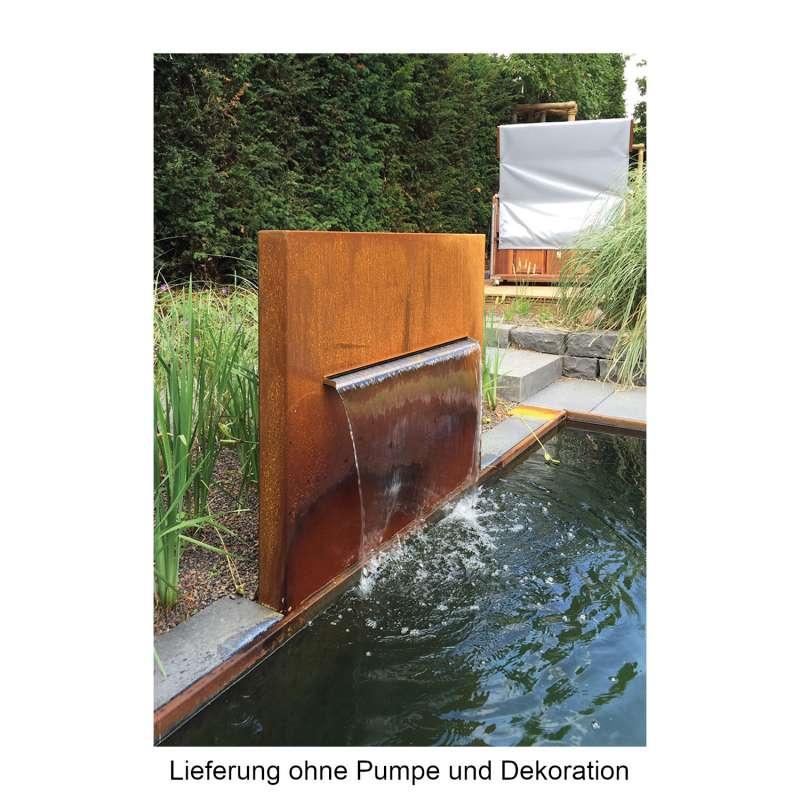 Mecondo Wasserbrunnen PURA 100x100x10 cm Wasserspender für offene Wasserbecken