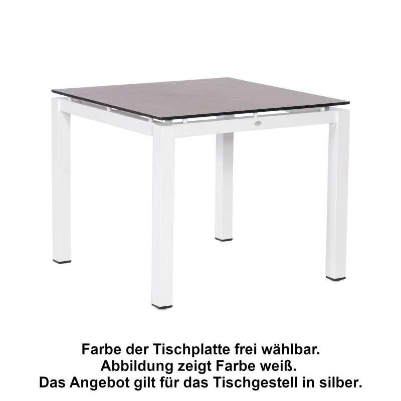 Sonnenpartner Gartentisch Base 90x90 cm Aluminium silber Tischsystem mit wählbarer Tischplatte HPL T