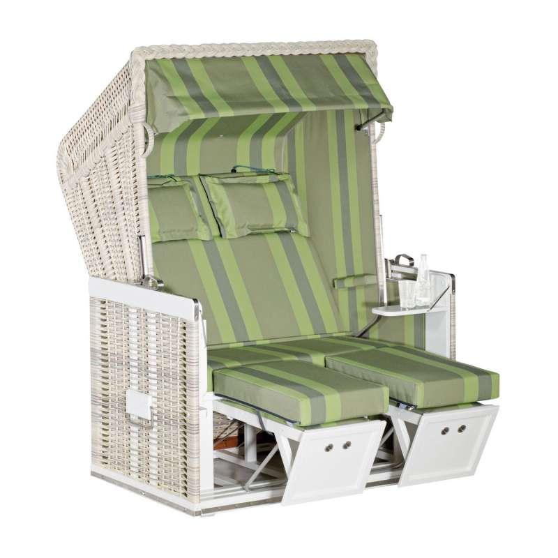 Sonnenpartner Strandkorb Konsul 2-Sitzer Halbliegemodell antikweiß/grün mit Sonderausstattung
