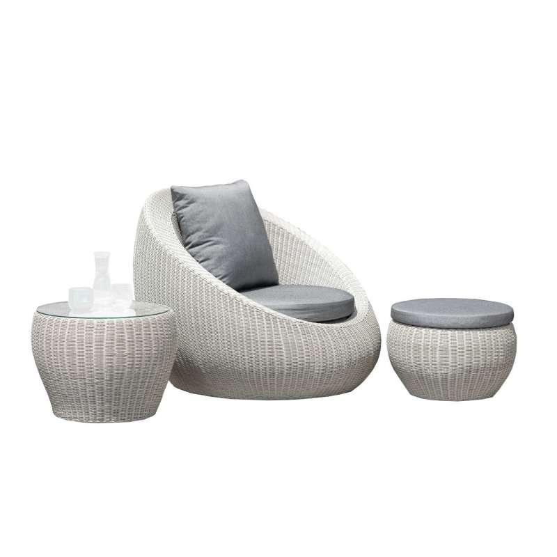 Stern 3-teilige Lounge-Sitzgruppe Anny Geflecht vintage weiß/seidengrau Relaxsessel Loungesessel