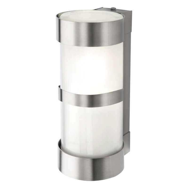 Heibi Wandleuchte mit Zierleiste Zylinderform Edelstahl/Opalglas 10x12,5x24 cm E27 Außenleuchte