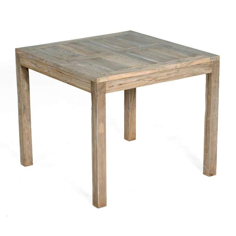 SunnySmart Teakholz-Gartentisch Wellington Old Teak grey-washed Tisch 90x90 cm