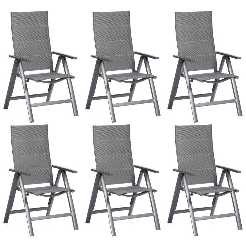 SunnySmart 6er-Set Garten-Klappsessel Concept Aluminium mit Polstertextilgewebe anthrazit Gartenstuh