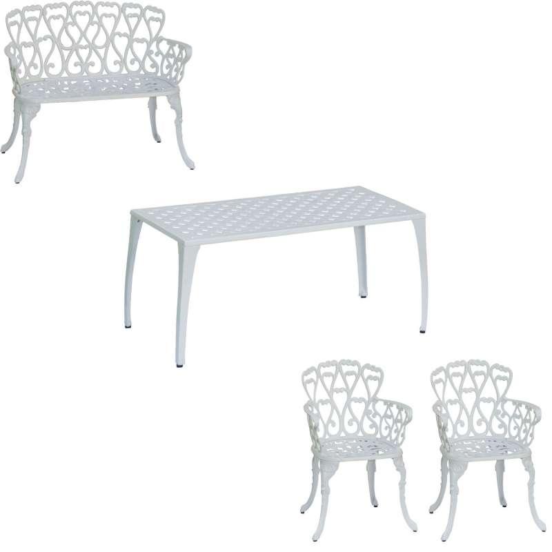 Inko 4-teilige Sitzgruppe Eden Alu-Guss weiß Sitzbank/Sessel/Tisch 90x46 cm