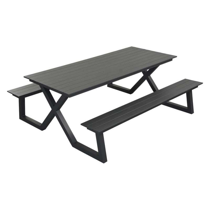 Inko Cebu Sitzgruppe Tisch Bänke Aluminium TBT 229 zwei Farben wählbar