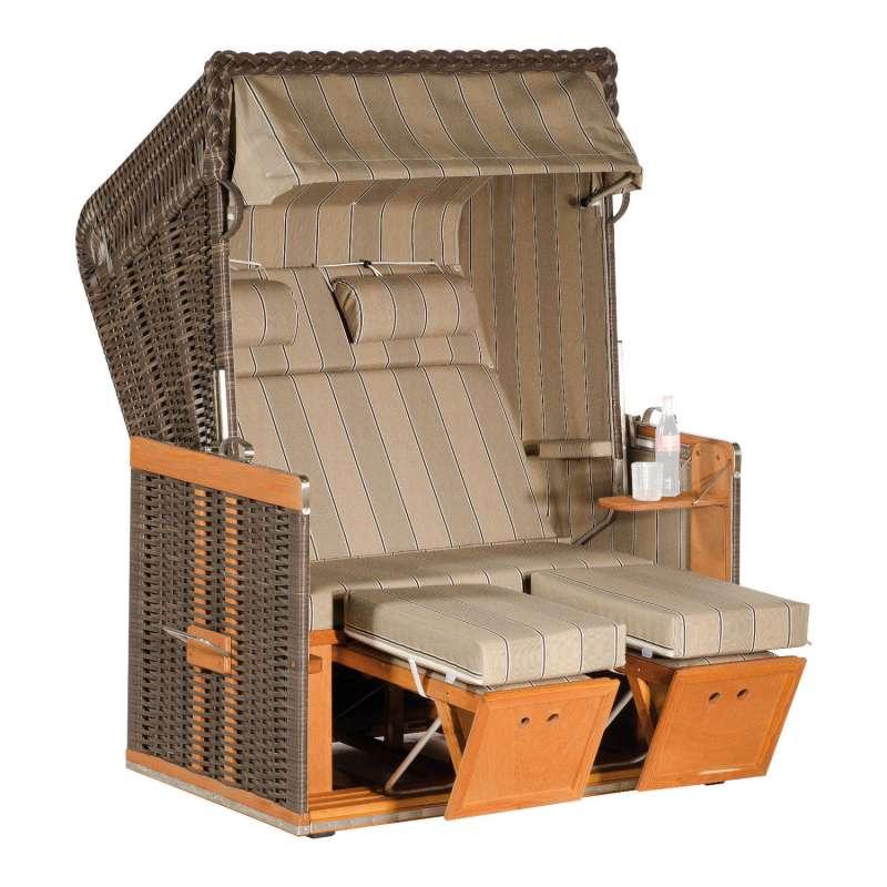 Sonnenpartner Strandkorb Konsul 2-Sitzer Halbliegemodell cappuccino/beige mit Sonderausstattung