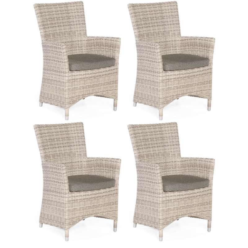Sonnenpartner 4er-Set Garten-Sessel Ikarus Aluminium mit Polyrattan white-coral Gartenstuhl