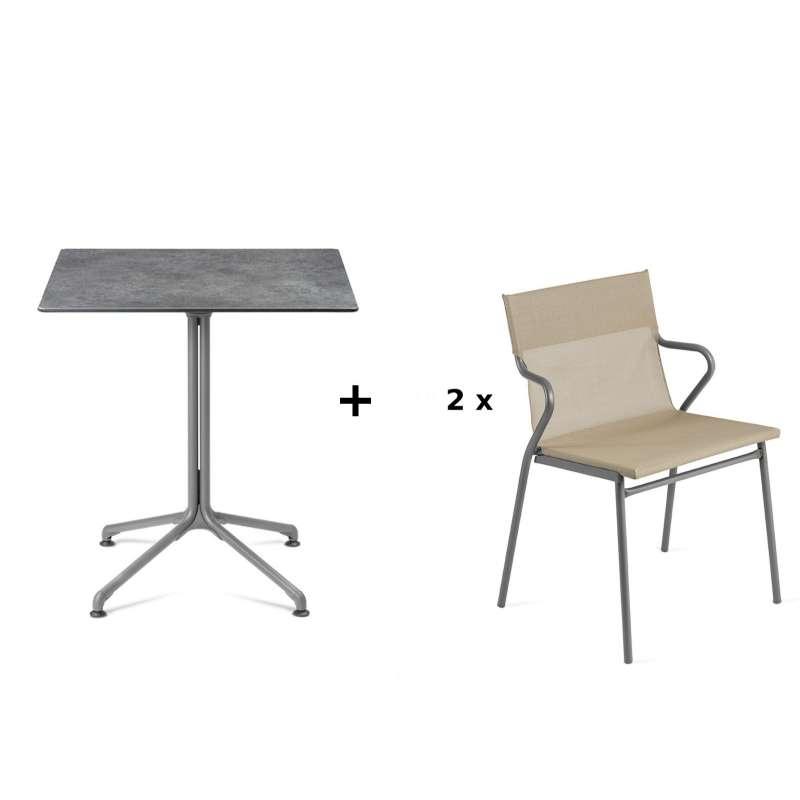 Lafuma Horizon Tisch-Set Loungetisch Mineral 70x70 cm 2 Loungestühle Noisette