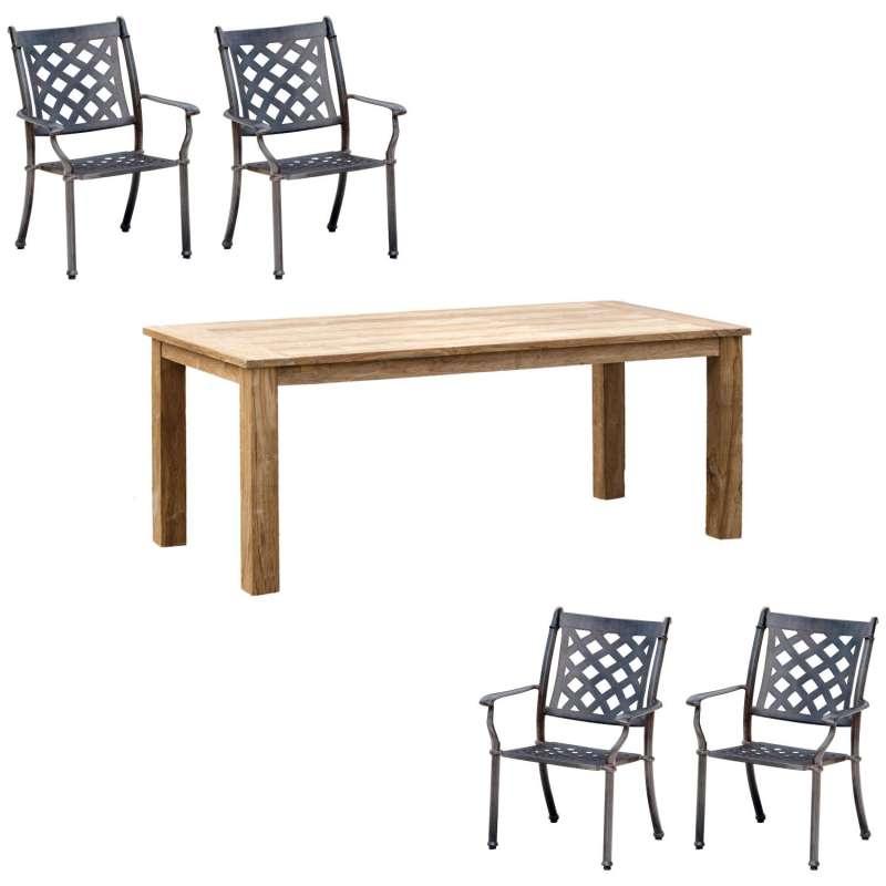 Inko 5-teilige Sitzgruppe Duke und Abacus Alu-Guss bronze/Teakholz Tisch 160x90 cm