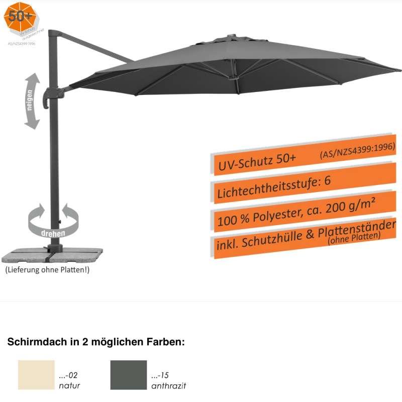 Schneider Schirme Rhodos Grande Sonnenschirm ø 400 cm 2 Farbvarianten Freiarmschirm