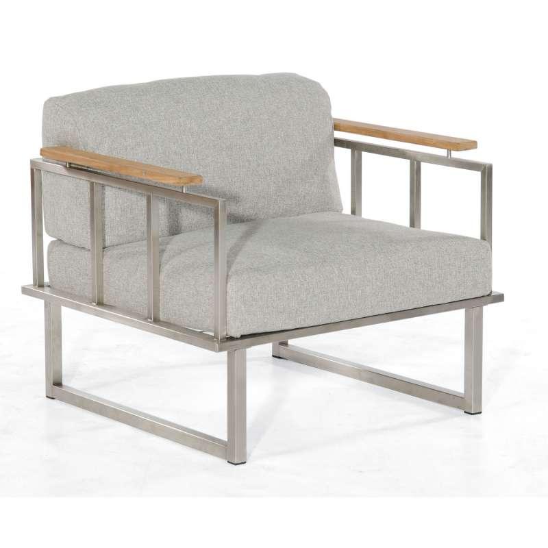 Sonnenpartner Lounge-Sessel Lotus Edelstahl mit Teakholz Loungesessel