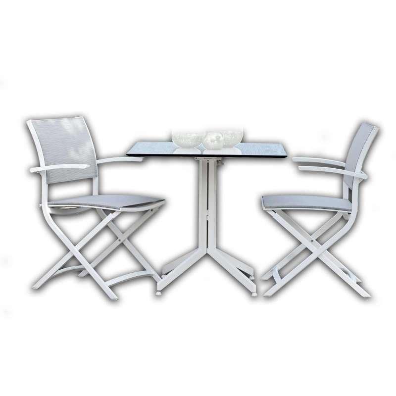 Stern 3-teilige Balkon-Sitzgruppe Klappsessel Camillo weiß/silber mit Tisch Silverstar 2.0 80x80 cm