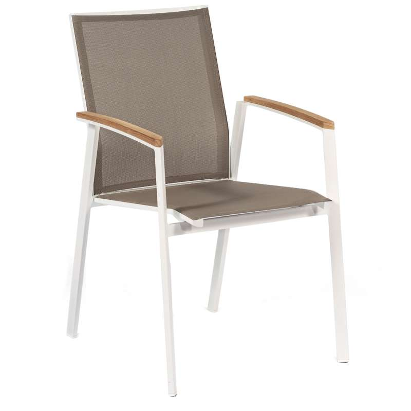 Sonnenpartner Stapelsessel Stuhl Fresno Farbe weiß/taupe mit Teakholz 80062620