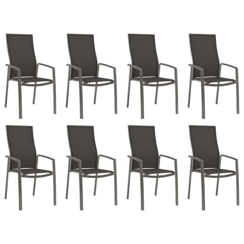 Stern 8er-Set Stapelsessel Kari Aluminium graphit/Textilen silbergrau hohe Rückenlehne Gartenstuhl S