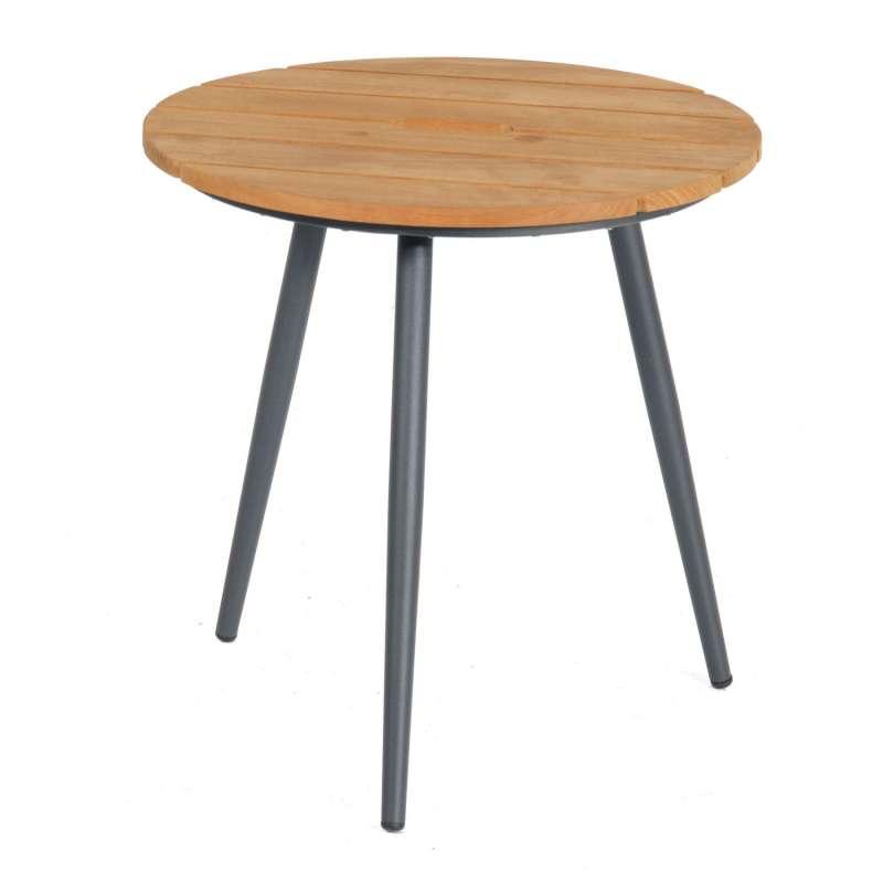 Sonnenpartner Beistelltisch Gala Ø 50 cm Aluminium/Teakholz Old Teak Tisch Gartentisch