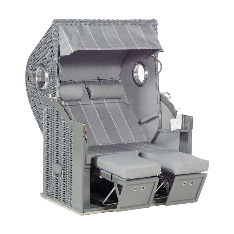 Sonnenpartner Strandkorb Classic 2-Sitzer Halbliegemodell onix/grau mit 2 Bullaugen und Sonderaussta