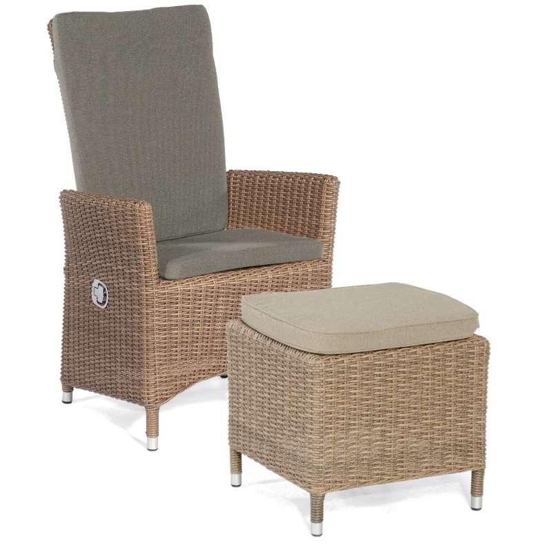 Sonnenpartner Garten-Sessel Solares mit Fußhocker Aluminium mit Polyrattan rustic-stream Gartenstuhl