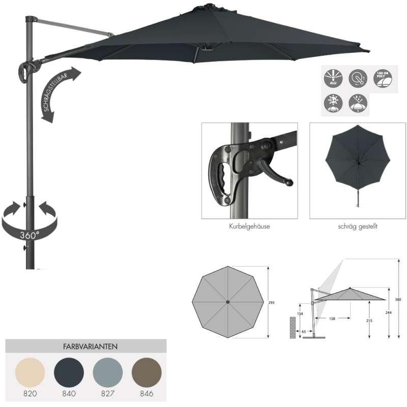 Doppler Ravenna Smart 300 Pendelschirm Ampelschirm ø 300 cm rund 4 Farben 453248