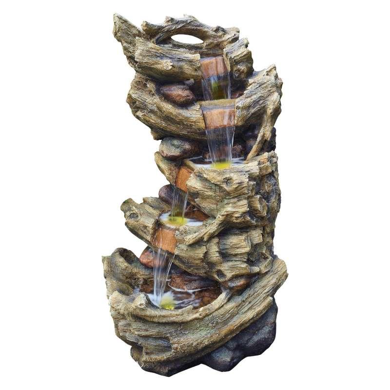 Granimex Fonto Polystone Wasserfall mit LED-Beleuchtung Zierbrunnen Wasserspiel 120x68x48 cm