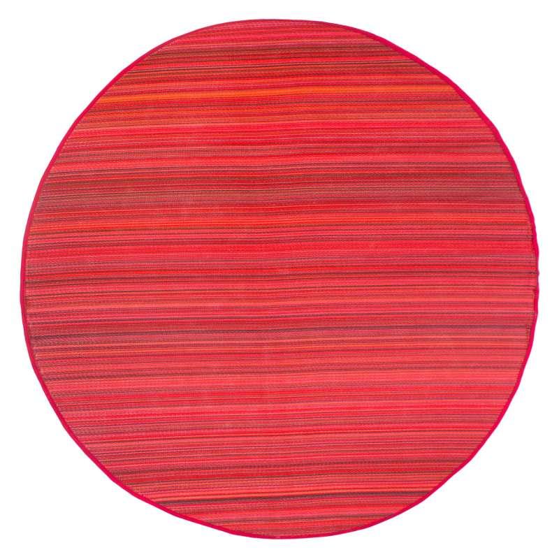 Fab Hab Outdoorteppich Cancun Sunset aus recyceltem Plastik rot/orange rund Ø 240 cm