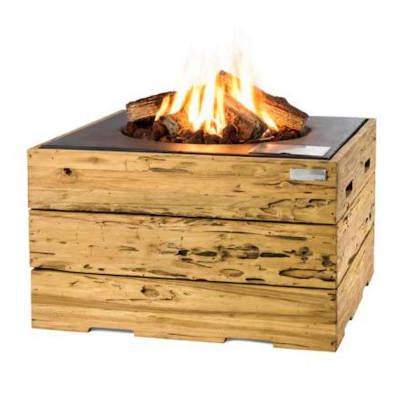 Happy Cocooning Mania Feuertisch 19,5 kW quadratisch groß 76x76x46 cm Teakholz Driftwood/schwarz
