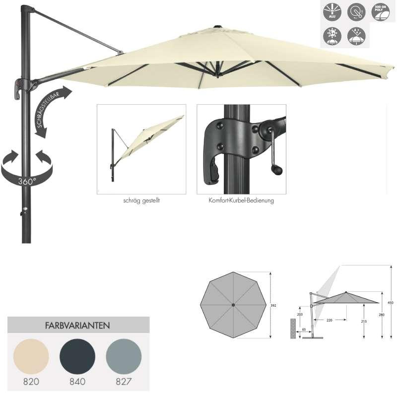 Doppler Ravenna 400 Pendelschirm Ampelschirm ø 400 cm rund 3 Farben 447218