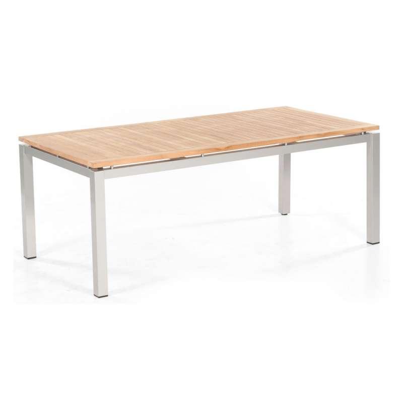 Sonnenpartner Gartentisch Base 200x100 cm Aluminium silber Tischsystem mit wählbarer Tischplatte HPL