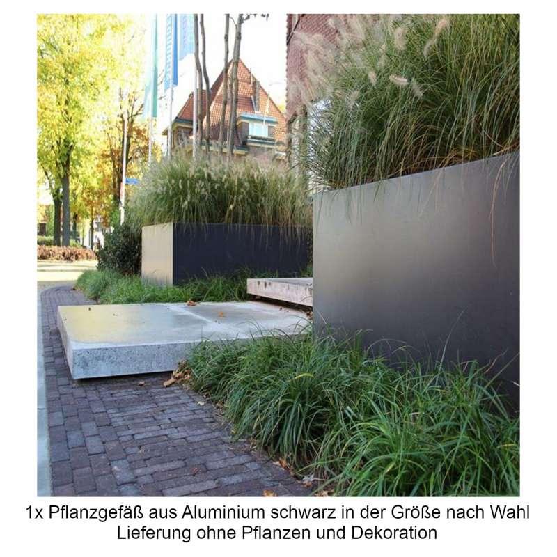 Mecondo Pflanzgefäß aus Aluminium schwarzgrau RAL 7021 quadratisch/rechteckig Blumenkübel