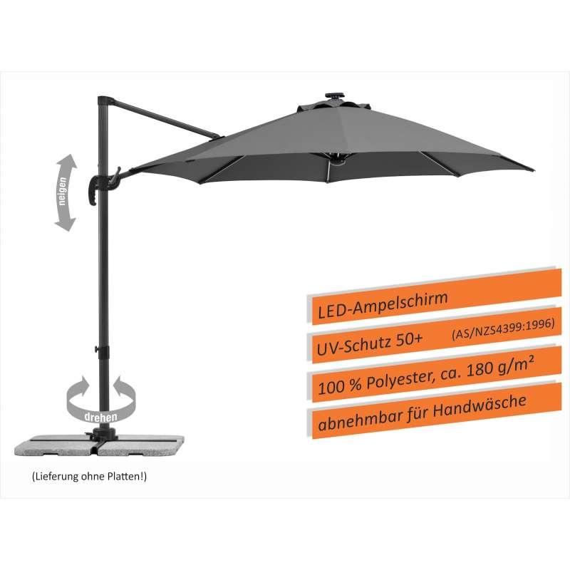 Schneider Schirme Rhodos Blacklight Sonnenschirm ø 300 cm anthrazit LED Freiarmschirm