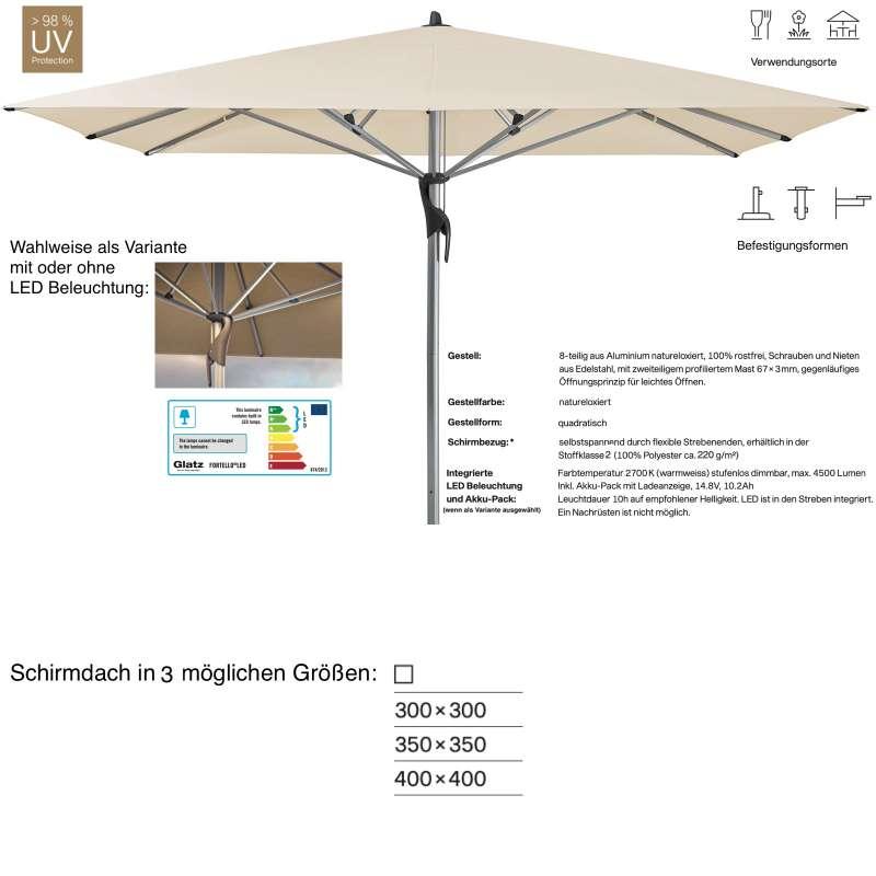 GLATZ Sonnenschirm FORTELLO® / LED 300 x 300 / 350 x 350 / 400 x 400 cm Eggshell 150 Mittelmastschir