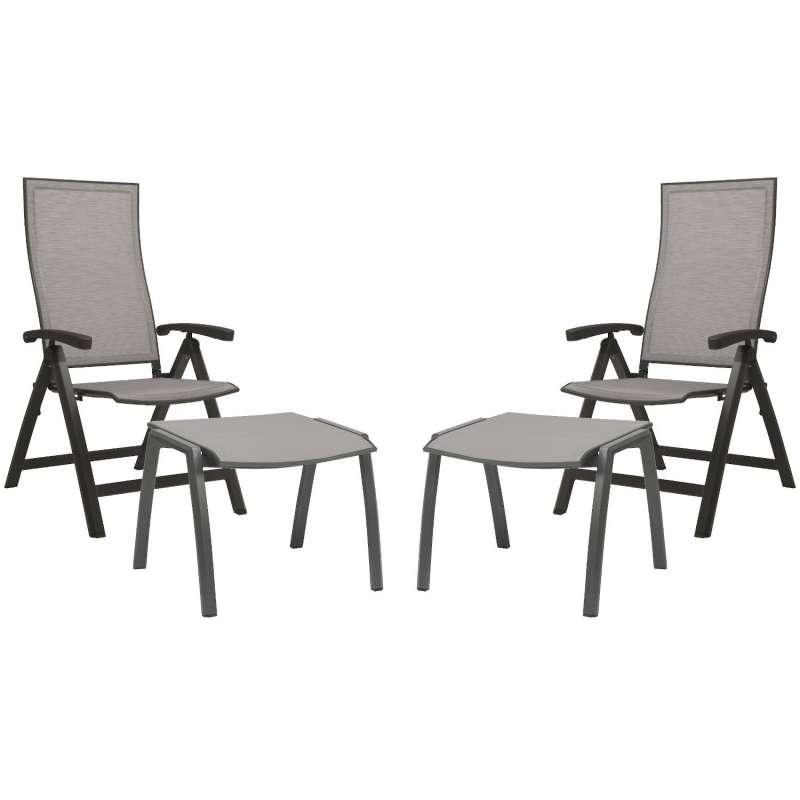 Stern 4-teiliges Set Klappsessel Kari mit Fußhocker Aluminium anthrazit/Textilen silber Gartenstuhl