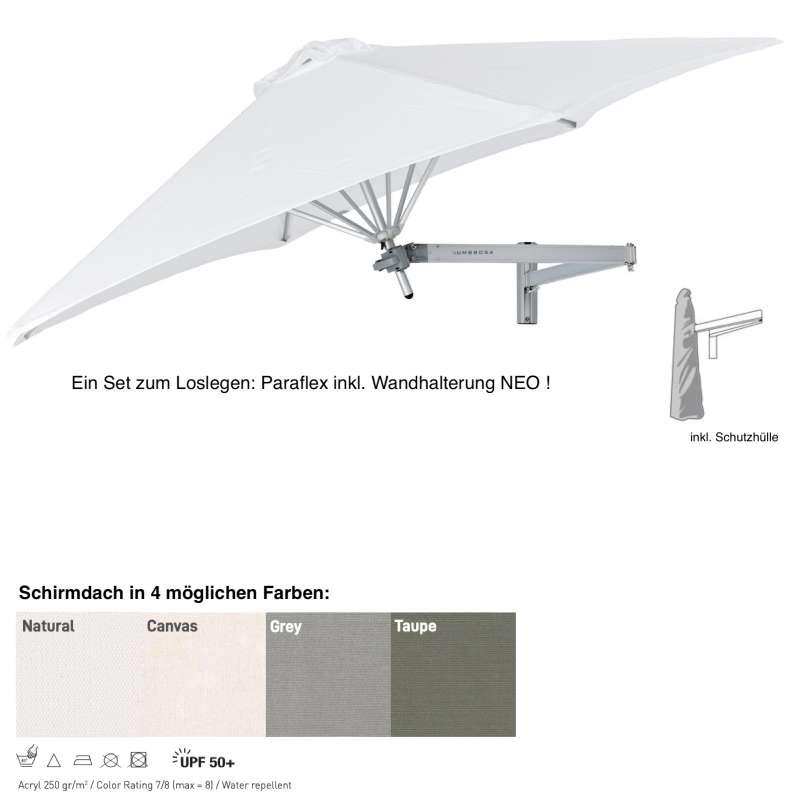 Umbrosa Paraflex ø 300 cm Wandschirm SET inkl. Halterung NEO Sonnenschirm 4 Farbvarianten