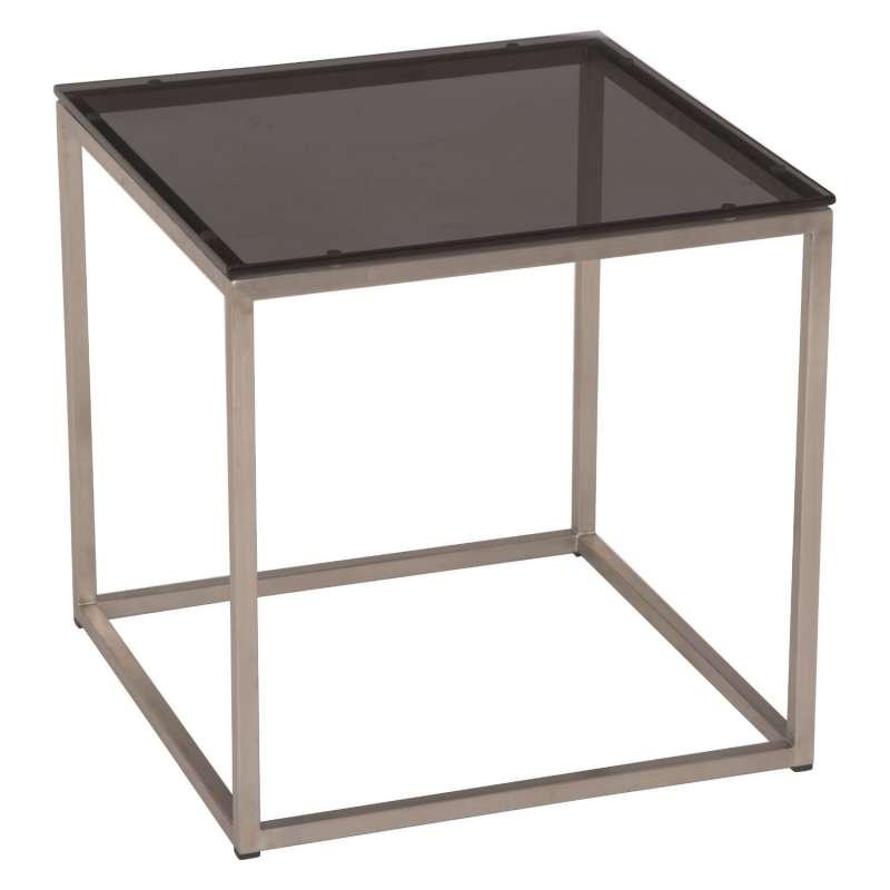 Stern Beistelltisch 45x45 cm Edelstahl/Glas schwarz Tisch Gartentisch