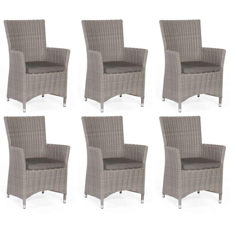 Sonnenpartner 6er-Set Garten-Sessel Ikarus Aluminium mit Polyrattan stone-grey Gartenstuhl